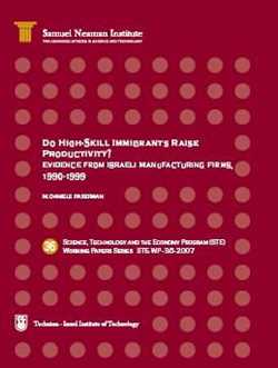 Do High-Skill Immigrants Raise Productivity? Evidence from Israeli Manufacturing Firms, 1990-1999 STE-WP-36