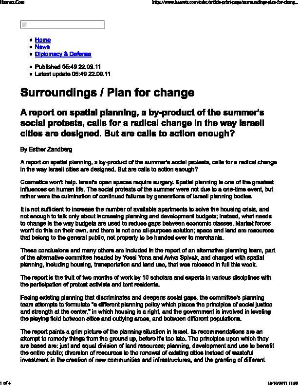 Surroundings / Plan for change