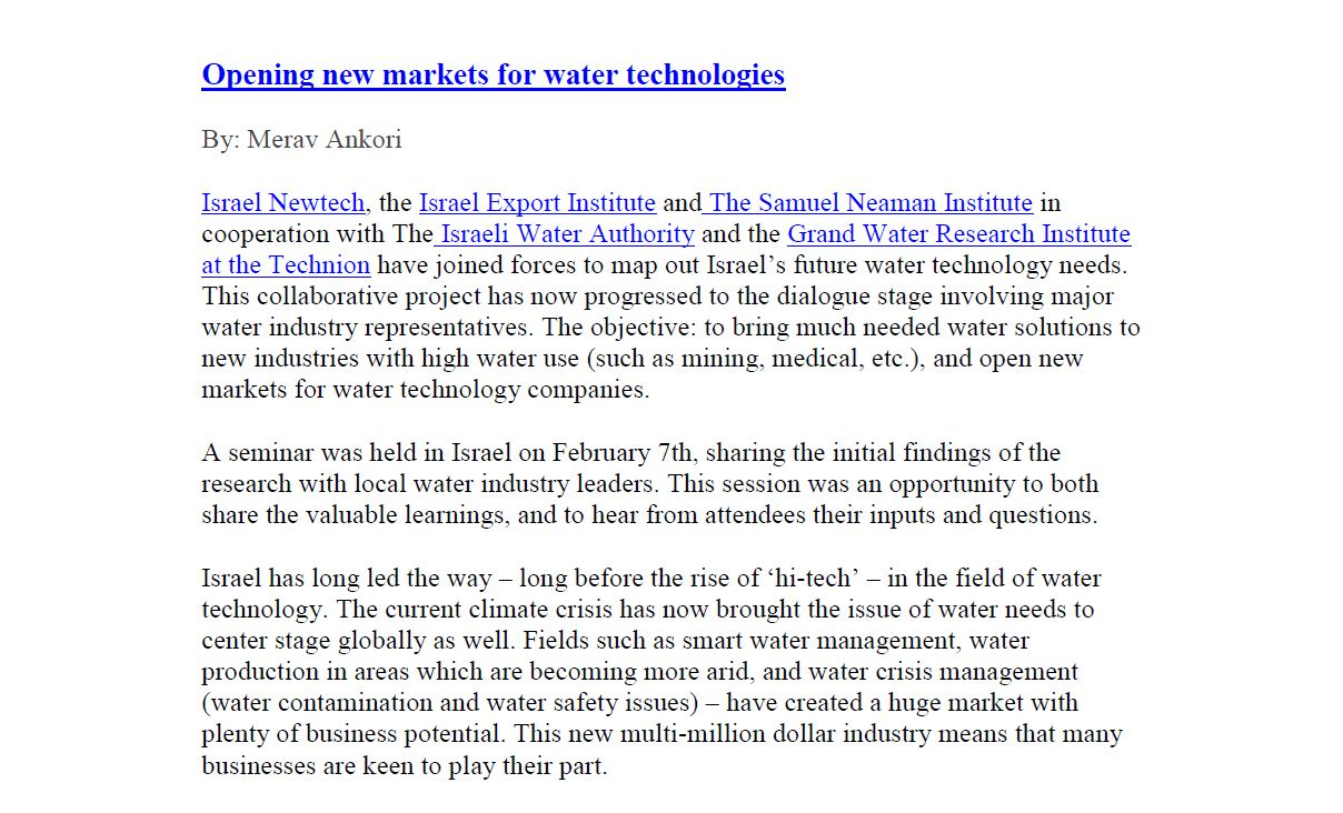 Opening new markets for water technologies