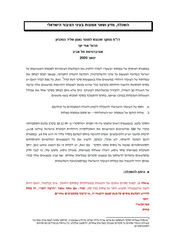 Education, Science and Beliefs in the Eyes of the Israeli Public