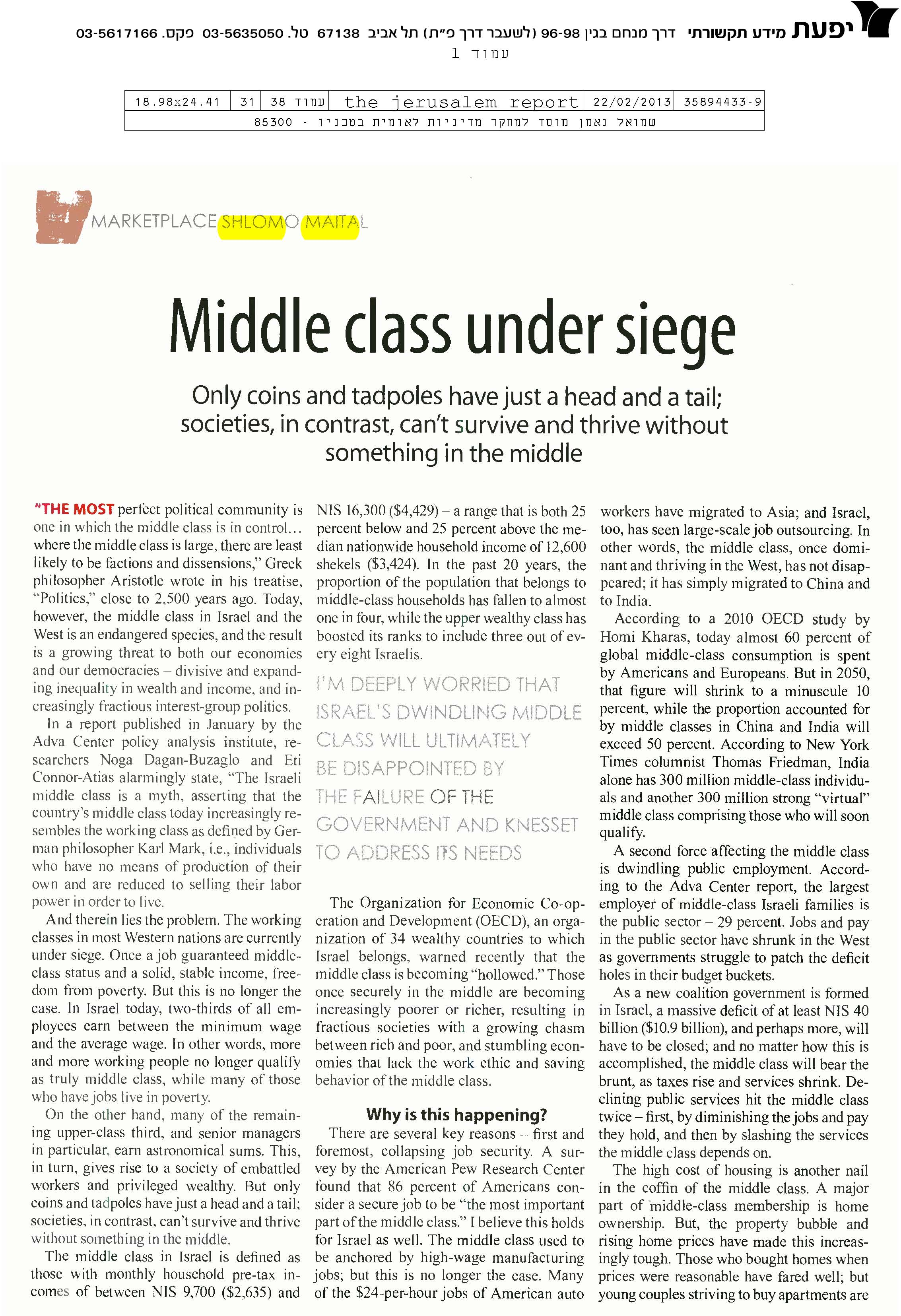 Middle class under siege