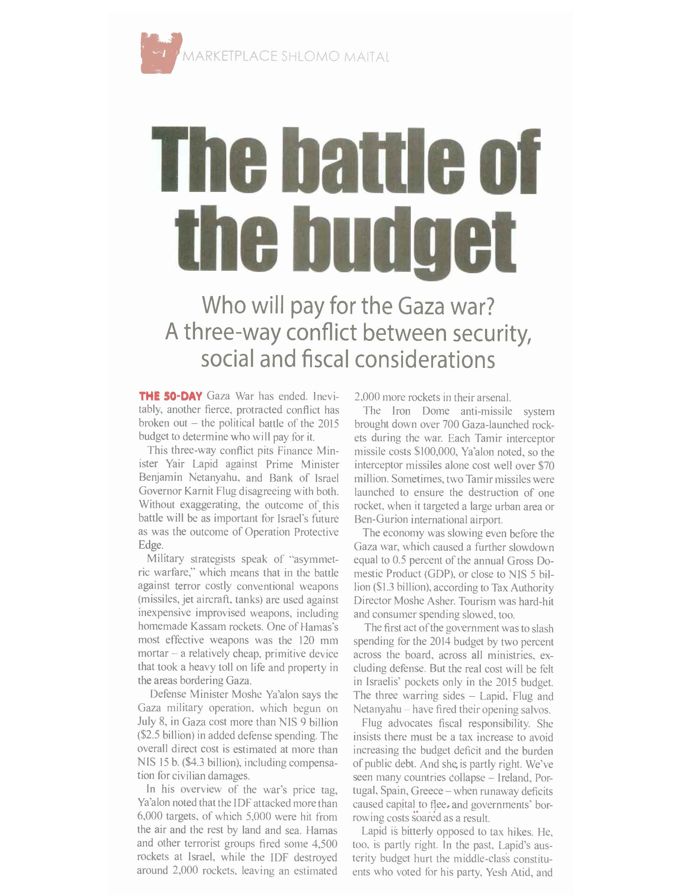The battle of the budget