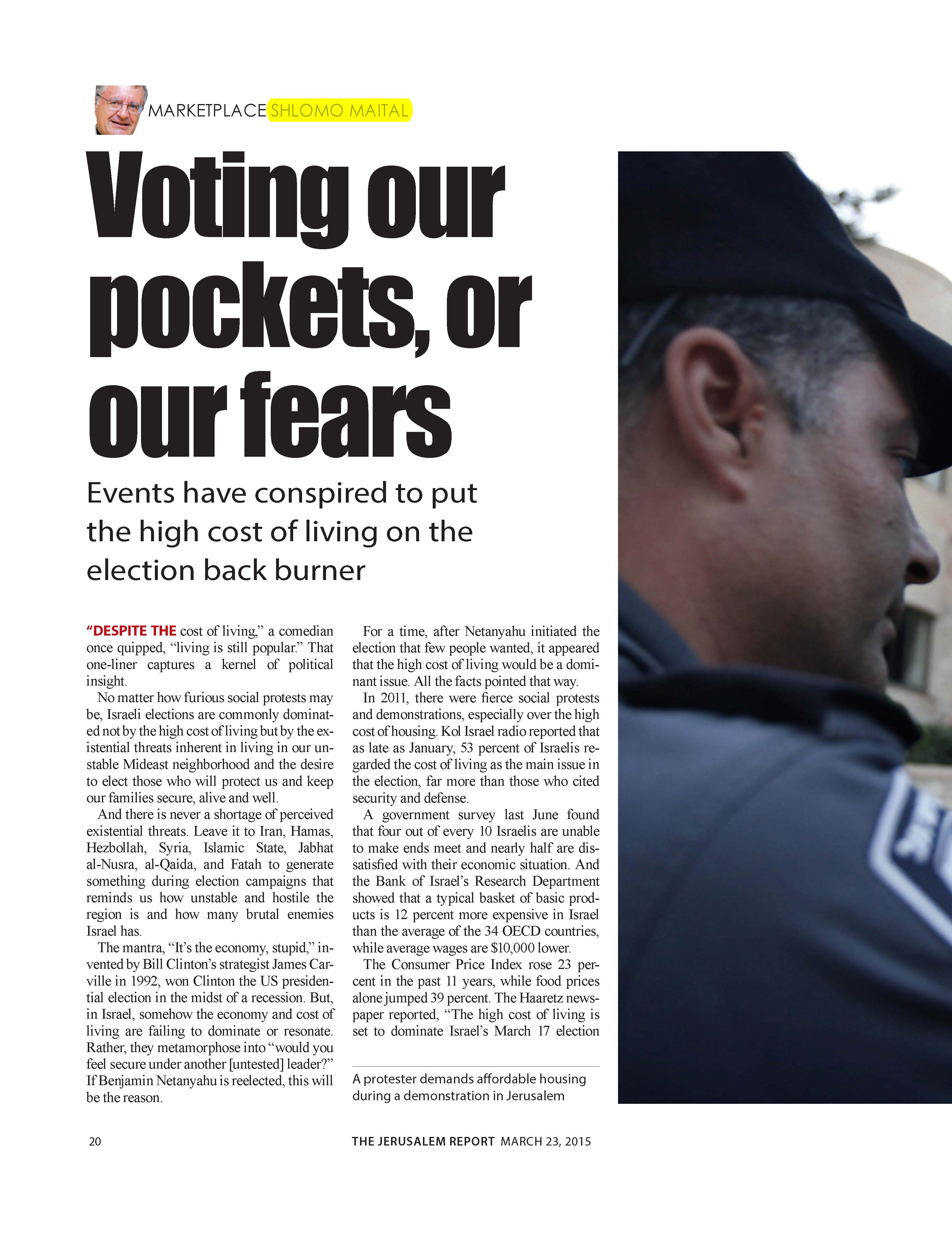 Voting our pockets, or our fears