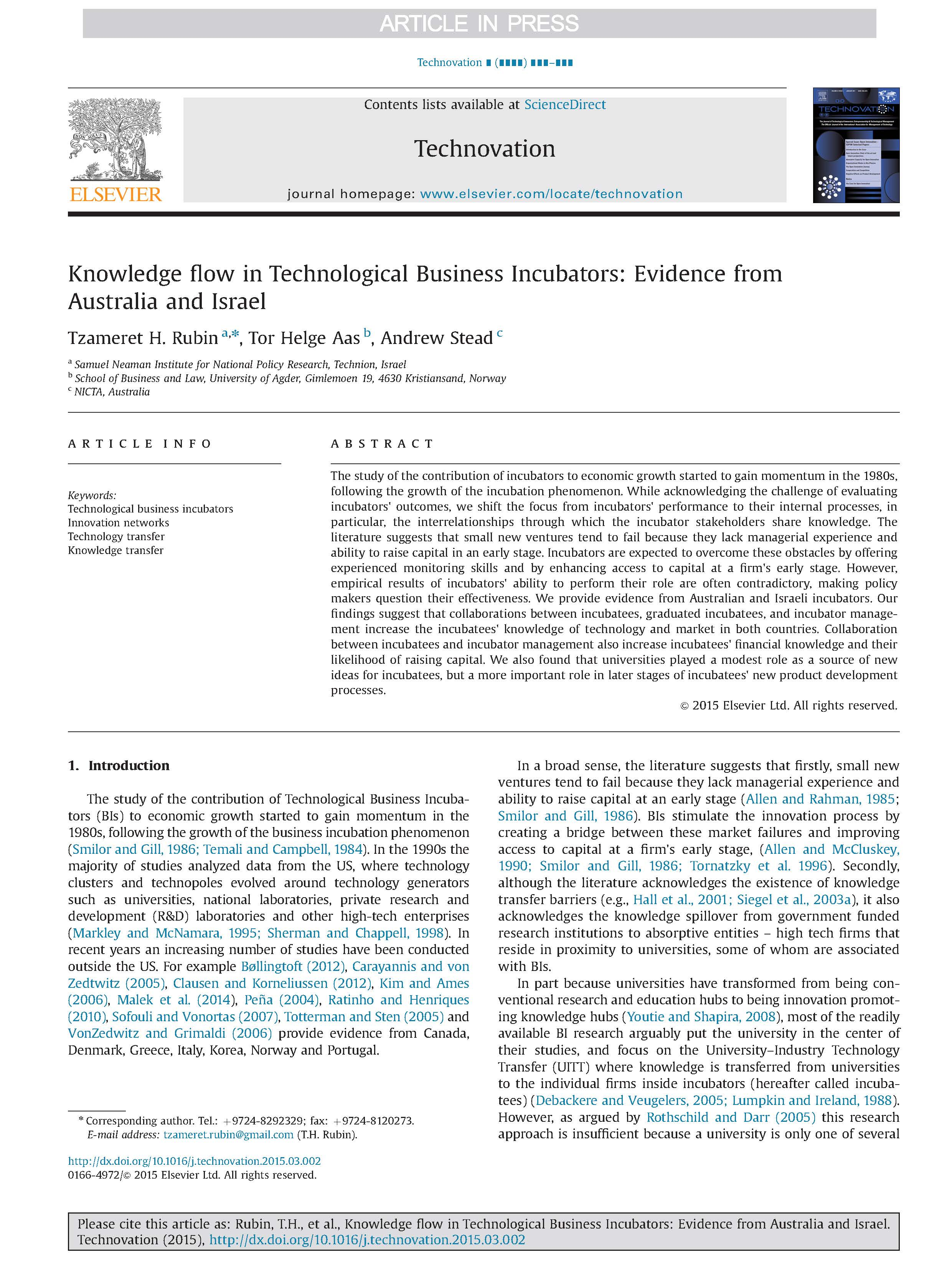 Knowledge flow in Technological Business Incubators: Evidence from Australia and Israel