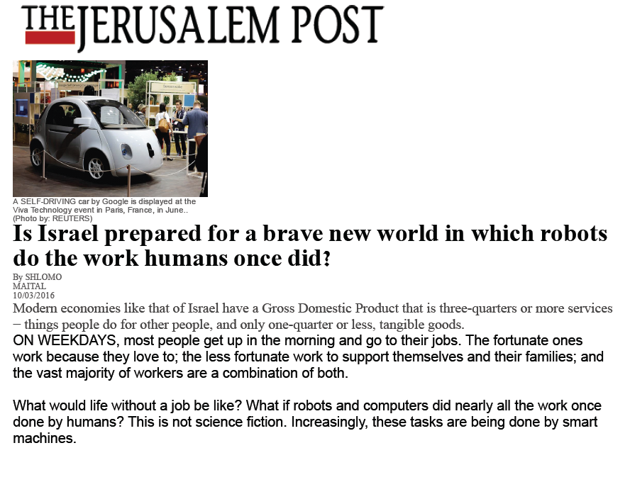 Is Israel prepared for a brave new world in which robots do the work humans once did?