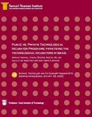 Public vs. Private Technological Incubator Programs: Privatizing the Technological Incubators in Israel STE-WP-26
