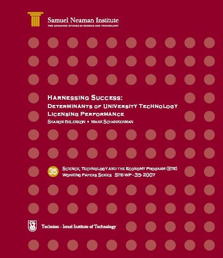 Harnessing Success: Determinants of University Technology Licensing Performance STE-WP-35