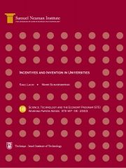 Incentives and Invention in Universities, Science, Technology and the Economy Program (STE) - Working Papers Series STE-WP-18-2003