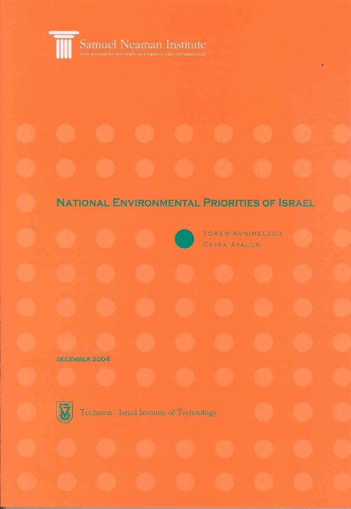 National Environmental Priorities of Israel, Position Paper IV - English abstract