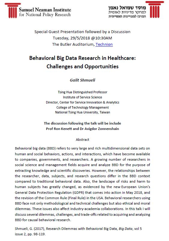Behavioral Big Data Research in Healthcare:  Challenges and Opportunities - Galit Shmueli