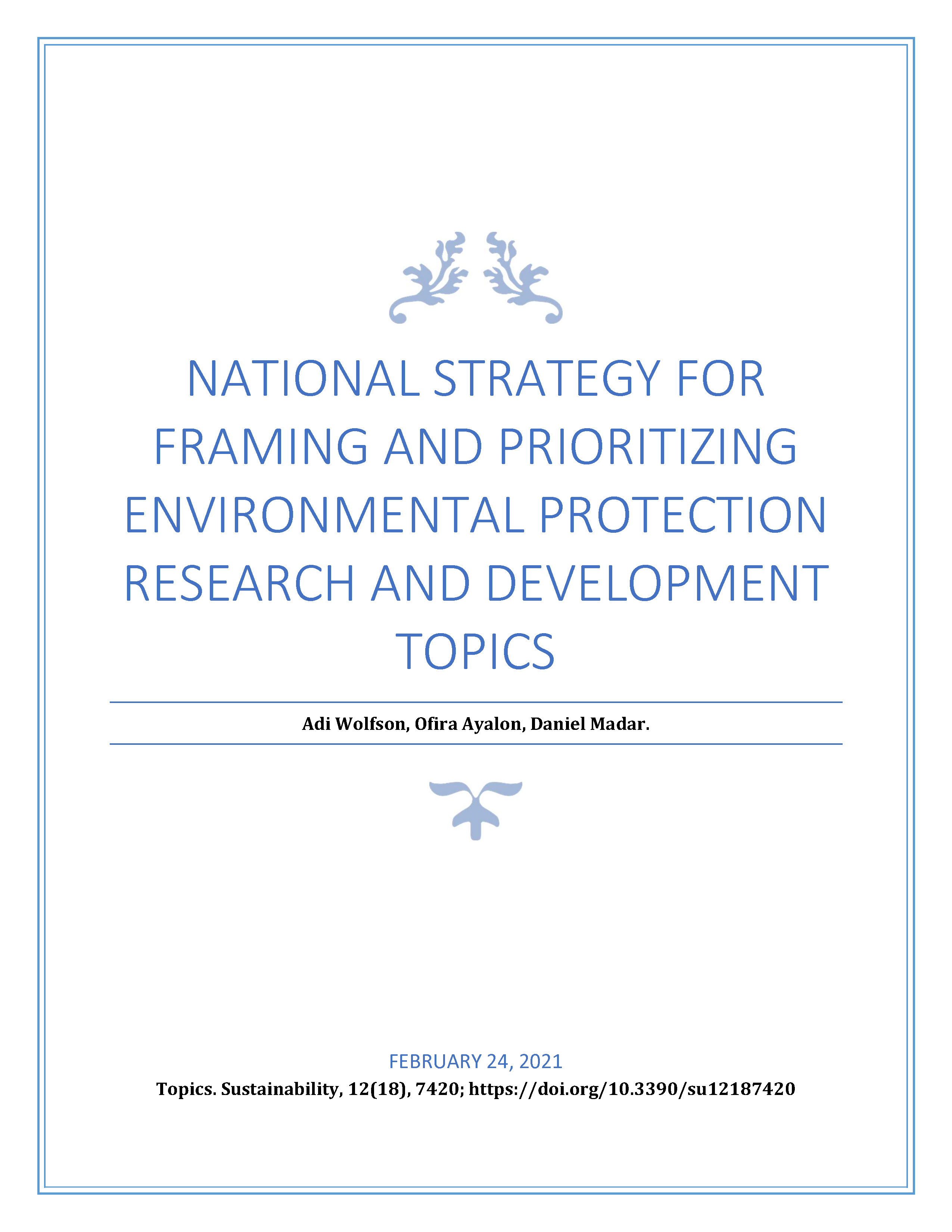 National Strategy for Framing and Prioritizing Environmental Protection Research and Development Topics