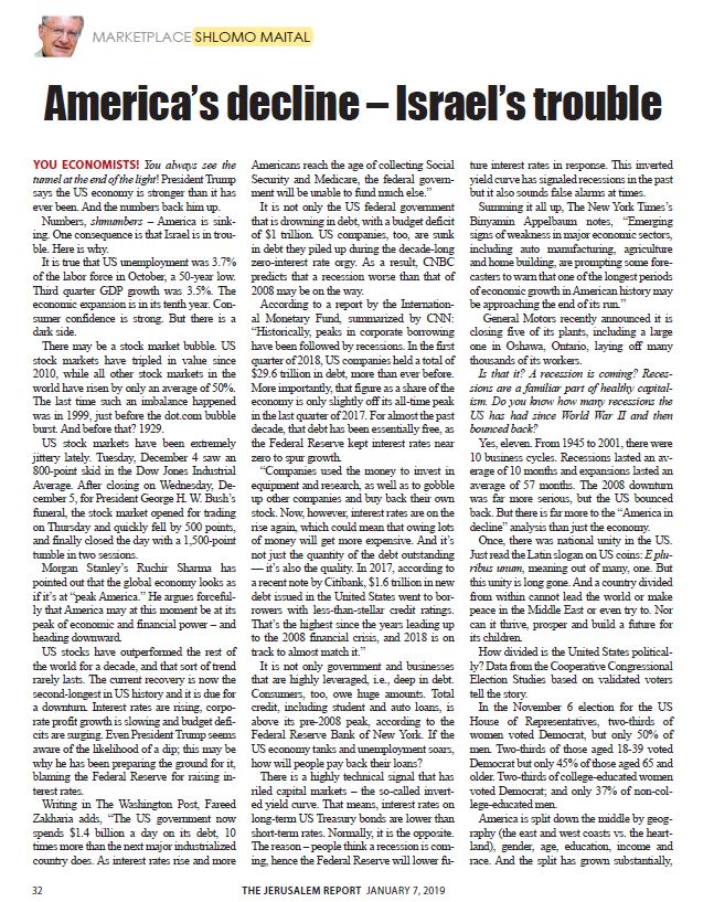 America's decline – Israel's trouble
